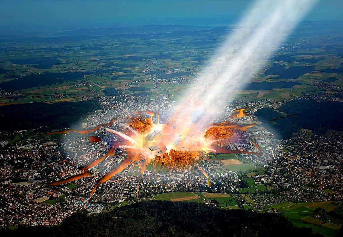 Asteroideneinschlag in Zürich