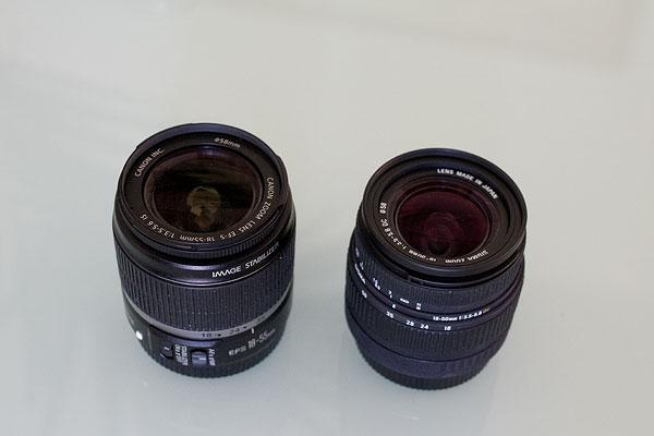 Typische Kit-Objektive Canon 18-55mm und Sigma 18-50mm