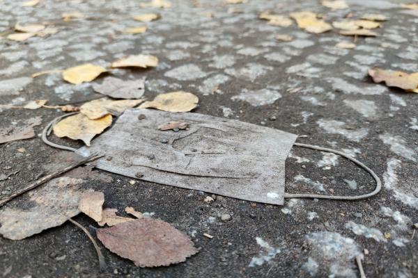 Weggeworfener Mund-Nasen-Schutz im Herbst, über dts Nachrichtenagentur