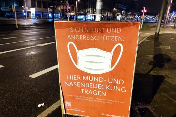 Hinweis auf Mund-Nasen-Schutz, über dts Nachrichtenagentur