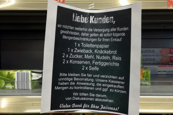 Mengenbeschränkung im Supermarkt, über dts Nachrichtenagentur