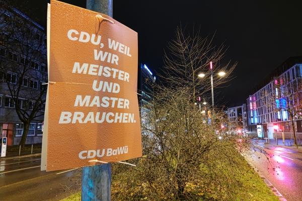CDU-Wahlplakat zur Landtagswahl in Baden-Württemberg 2021, über dts Nachrichtenagentur