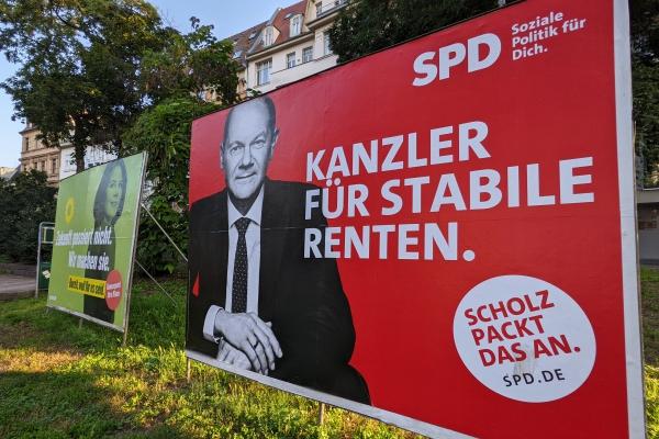 Wahlplakate von Grünen und SPD zur Bundestagswahl 2021, über dts Nachrichtenagentur