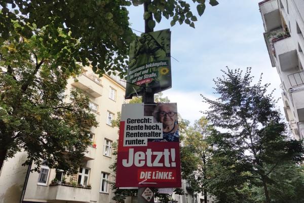Wahlplakate von Grünen und Linken, über dts Nachrichtenagentur